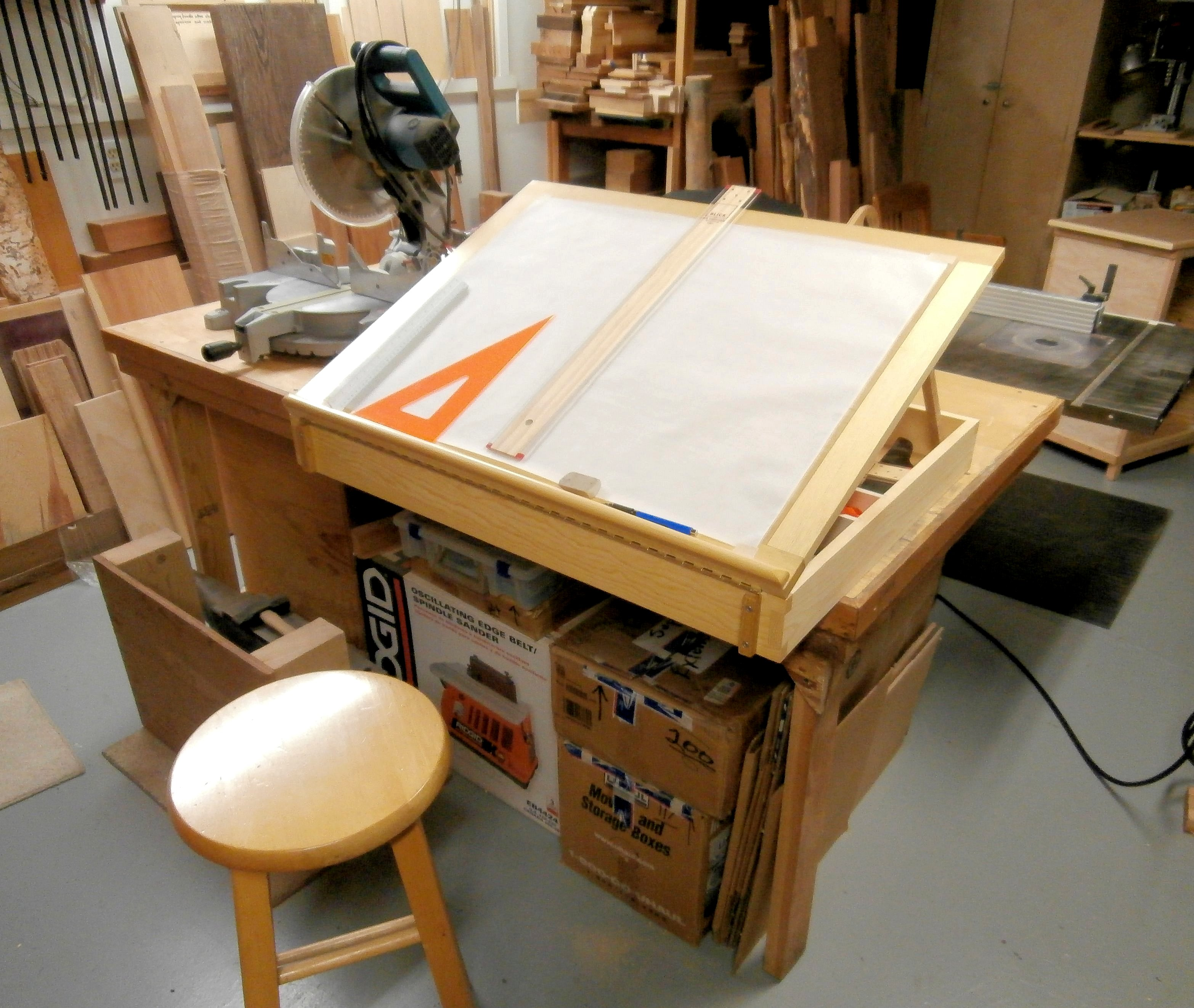 Drafting table and storage box max vollmer for Box table design