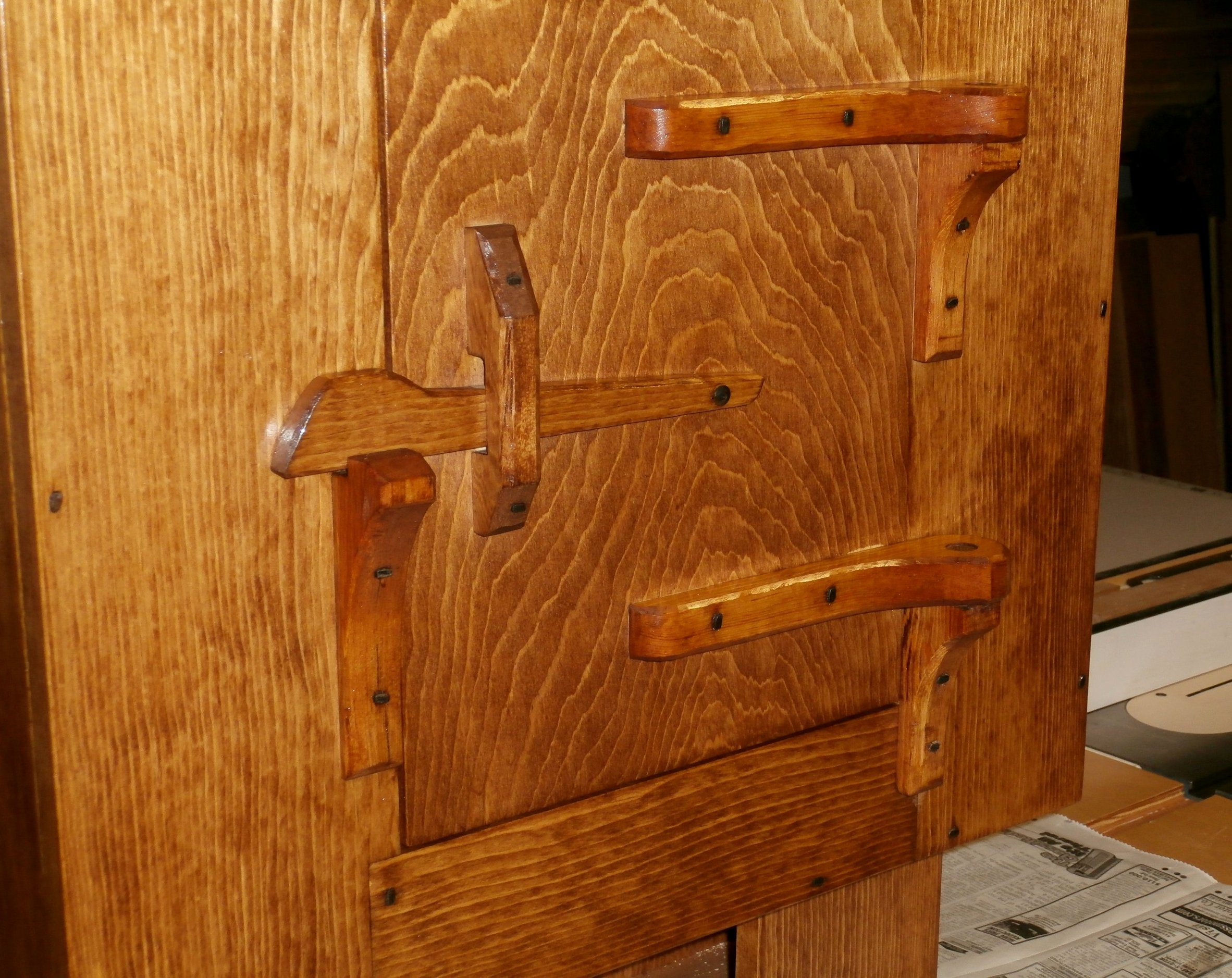 Rustic Wall Cabinet W Hand Carved